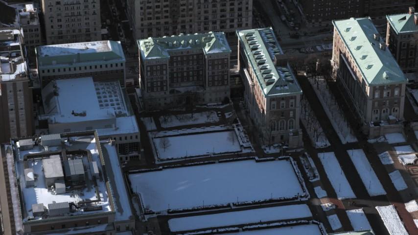 5K stock footage aerial video orbit Columbia University Graduate School of Journalism in snow, New York City Aerial Stock Footage | AX66_0071