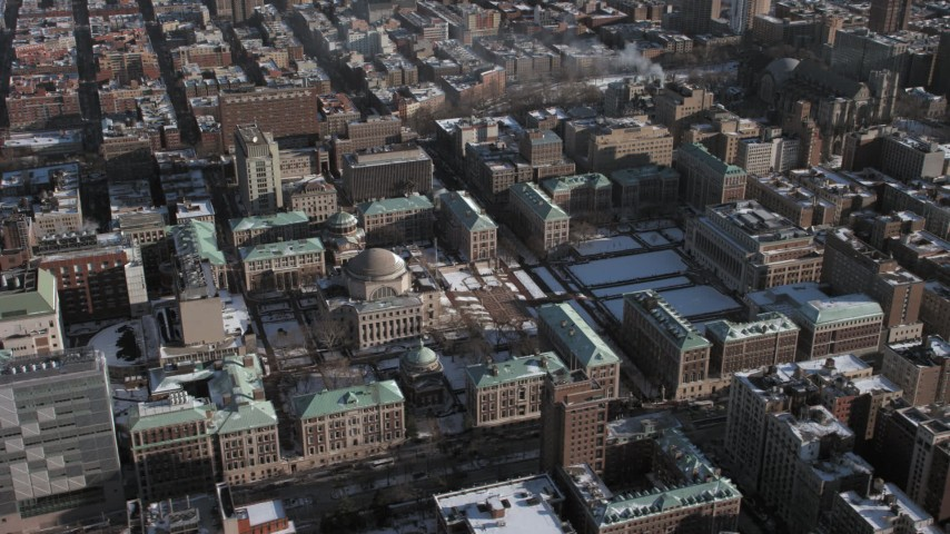 5K stock footage aerial video orbit around the Columbia University campus during winter, Morningside Heights, New York City Aerial Stock Footage | AX66_0074