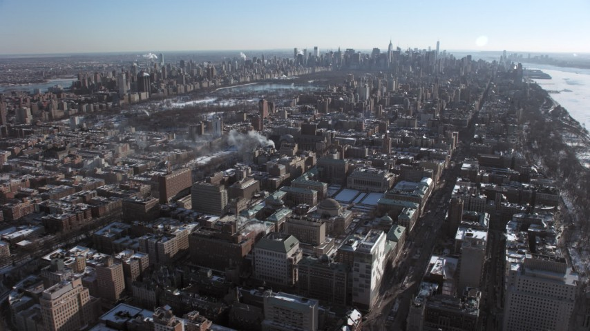 Columbia University and Central Park, New York City Aerial Stock Footage | AX66_0084