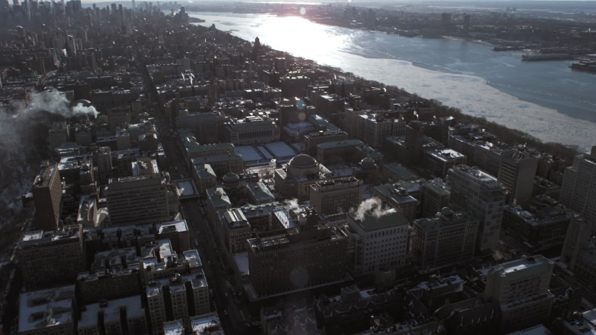 5K stock footage aerial video approach the Columbia University campus, New York City Aerial Stock Footage | AX66_0085