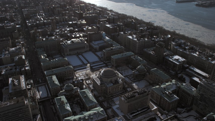 5K stock footage aerial video tilt from Columbia University to reveal Midtown Manhattan, New York City Aerial Stock Footage | AX66_0086