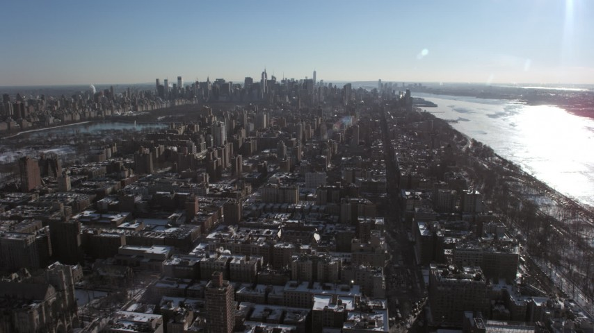 5K stock footage aerial video of a view of the Upper West Side and Midtown Manhattan, New York City Aerial Stock Footage | AX66_0087