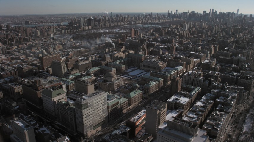 5K stock footage aerial video orbit Columbia University to reveal Upper West Side, Central Park and Midtown, New York City Aerial Stock Footage | AX66_0088