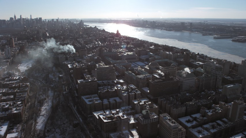 5K stock footage aerial video of a wide orbit around Columbia University campus, New York City Aerial Stock Footage | AX66_0089