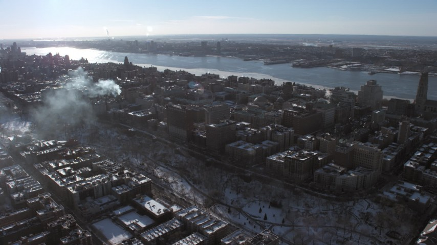 5K stock footage aerial video of flying away from the Columbia University campus, New York City Aerial Stock Footage | AX66_0090