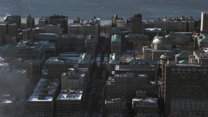 5K stock footage aerial video of snowy grounds and the Graduate School of Journalism at Columbia University, New York City Aerial Stock Footage | AX66_0091