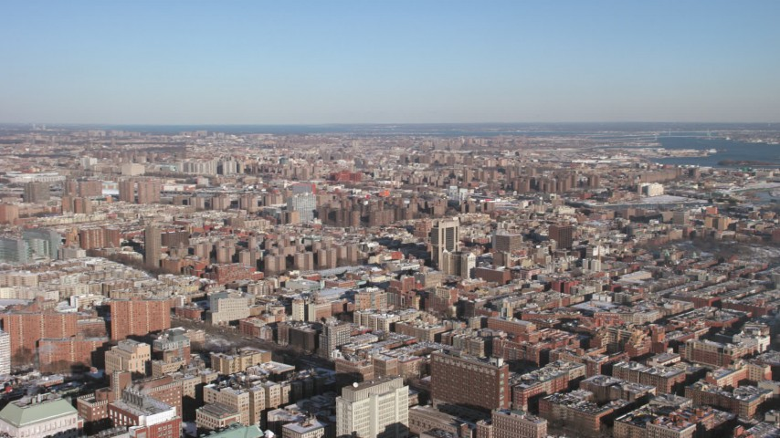 Reveal Columbia University with snow, New York City Aerial Stock Footage | AX66_0093