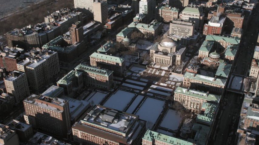 Columbia University campus with snow, New York City Aerial Stock Footage   AX66_0094