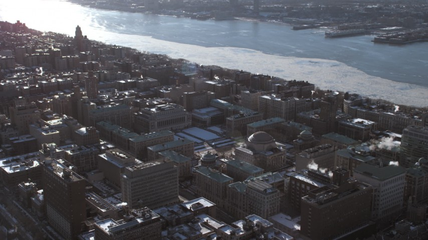 Columbia University campus and Midtown Manhattan, New York City Aerial Stock Footage | AX66_0097