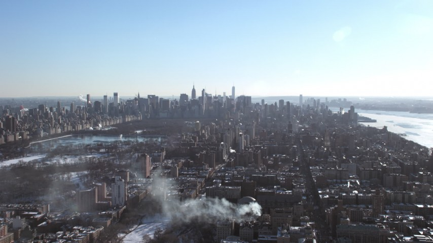 Columbia University campus and Midtown Manhattan Skyscrapers,  New York City Aerial Stock Footage | AX66_0098