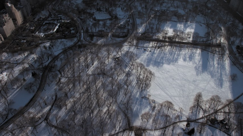 Midtown Manhattan in winter, New York City Aerial Stock Footage AX66_0107