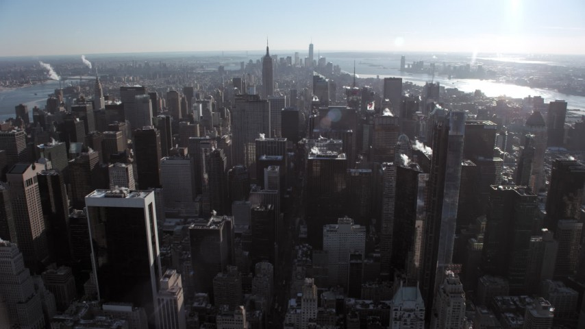 5K aerial video of flying over Midtown Manhattan skyscrapers, New York City Aerial Stock Footage | AX66_0108