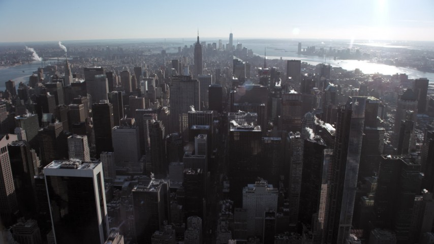 Midtown Manhattan, Empire State Building, New York City Aerial Stock Footage | AX66_0109