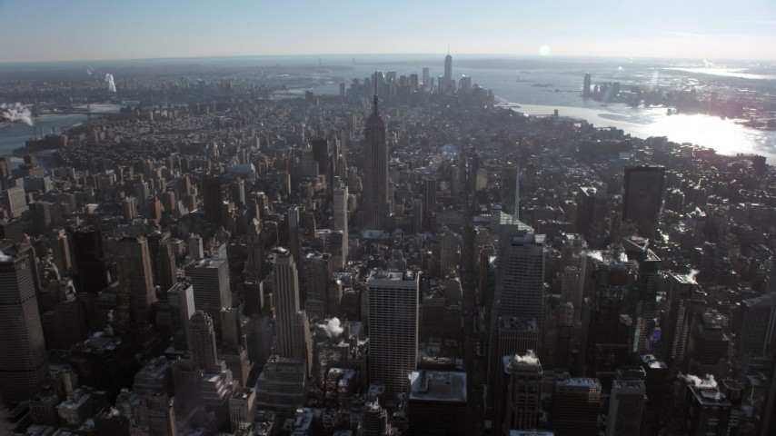 Empire State Building in snow, New York City Aerial Stock Footage | AX66_0111