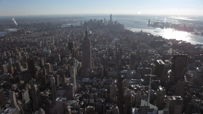Empire State Building, Lower Manhattan, New York City Aerial Stock Footage | AX66_0112