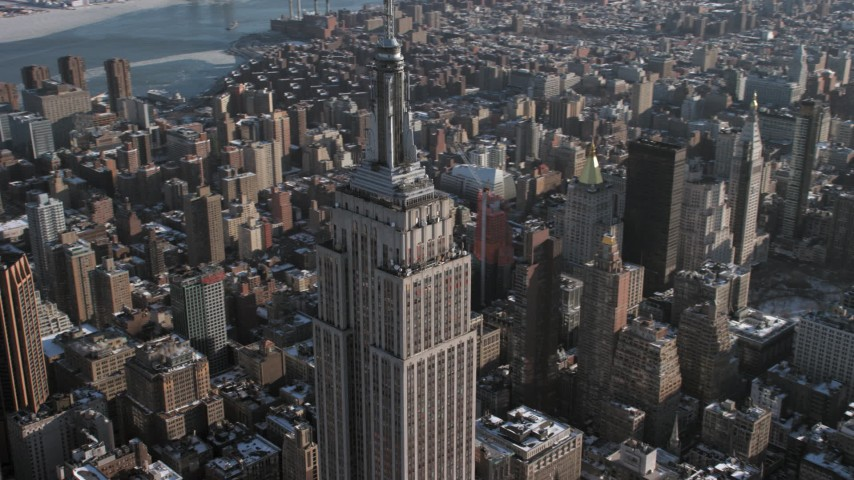 5K stock footage aerial video of orbiting the famous Empire State Building, New York City Aerial Stock Footage | AX66_0113