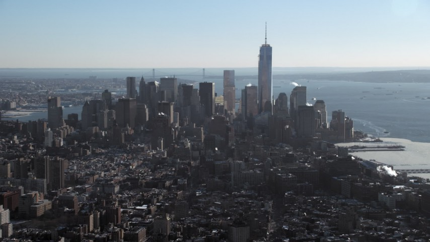 5K stock footage aerial video of Lower Manhattan skyline, New York City Aerial Stock Footage | AX66_0114