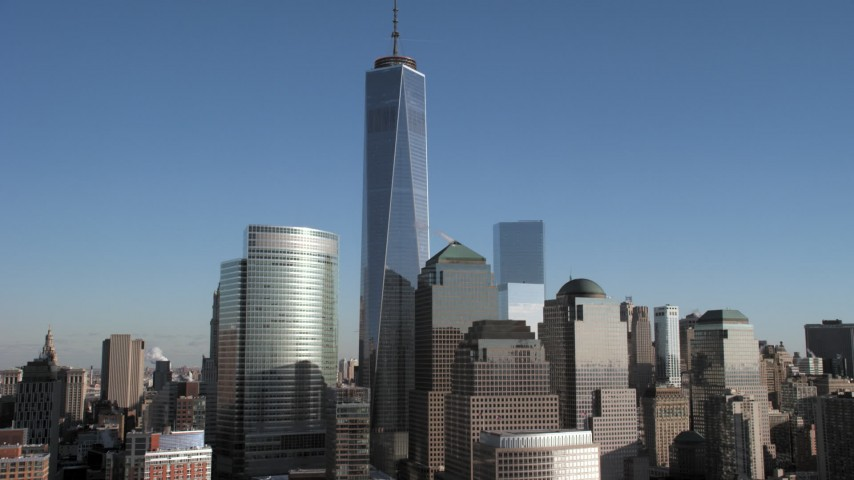 Freedom Tower and skyscrapers, New York City Aerial Stock Footage | AX66_0122