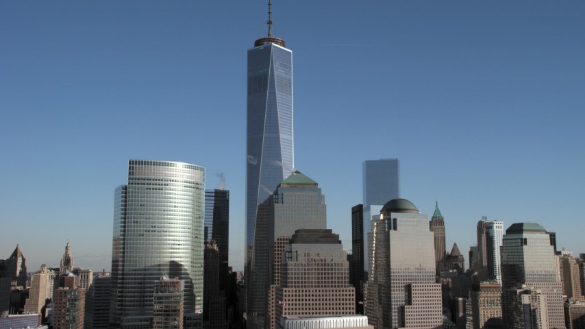 5K stock footage aerial video of Freedom Tower and skyscrapers, New York City Aerial Stock Footage AX66_0122 | Axiom Images