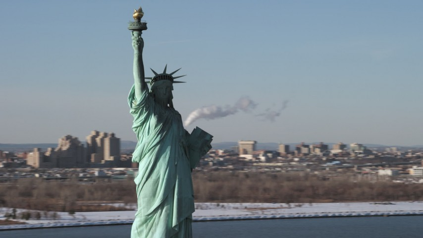 5K stock footage aerial video of orbiting the iconic Statue of Liberty, New York Aerial Stock Footage | AX66_0131