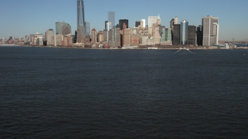 Lower Manhattan skyline, New York City Aerial Stock Footage | AX66_0134