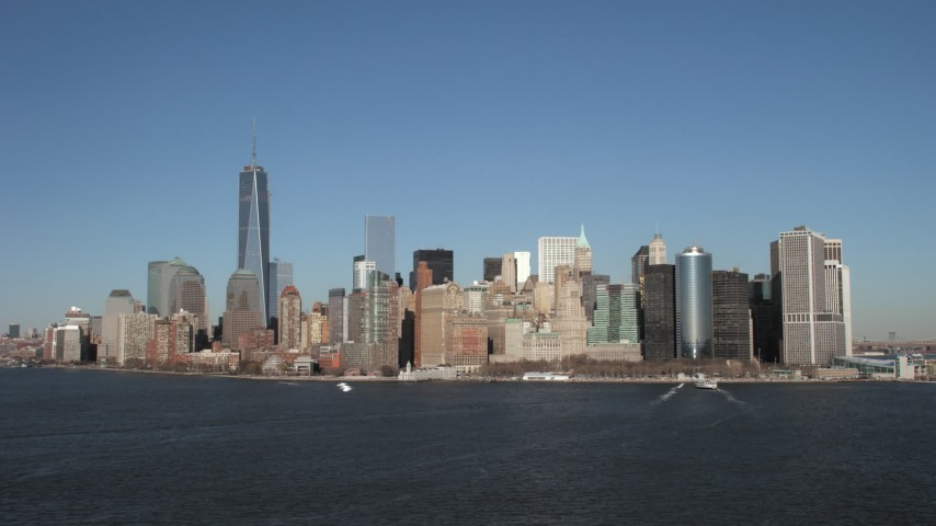 5K stock footage aerial video of the Lower Manhattan skyline, New York City Aerial Stock Footage | AX66_0134