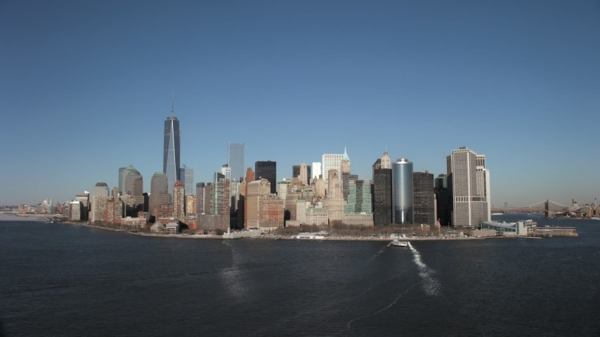 Bare Trees in snow in Lower Manhattan, New York City Aerial Stock Footage AX66_0135