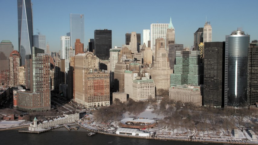 Lower Manhattan Skyscrapers, New York City Aerial Stock Footage AX66_0136
