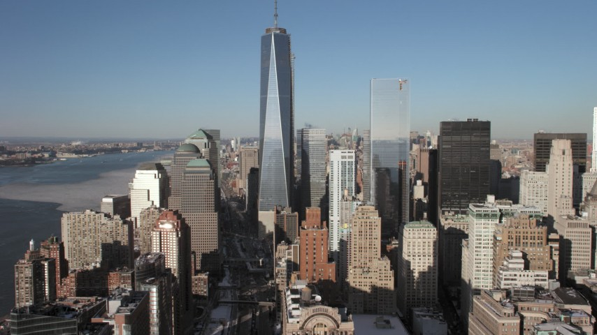 5K stock footage aerial video approach One World Trade Center, New York City Aerial Stock Footage | AX66_0137