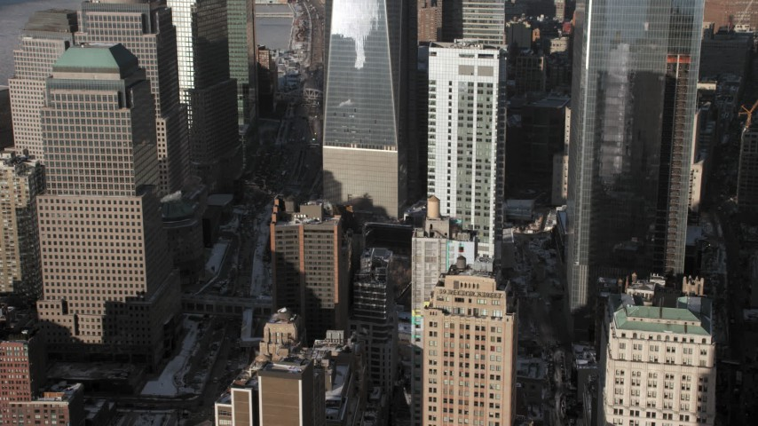 5K aerial video tilt to downtown skyscrapers, Lower Manhattan, New York City Aerial Stock Footage | AX66_0138