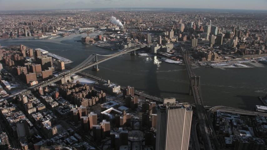 Brooklyn Bridge and Manhattan Bridge, New York City Aerial Stock Footage | AX66_0142