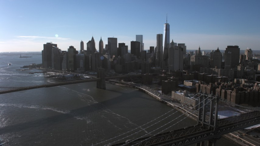 Lower Manhattan Skyline, New York City Aerial Stock Footage | AX66_0148