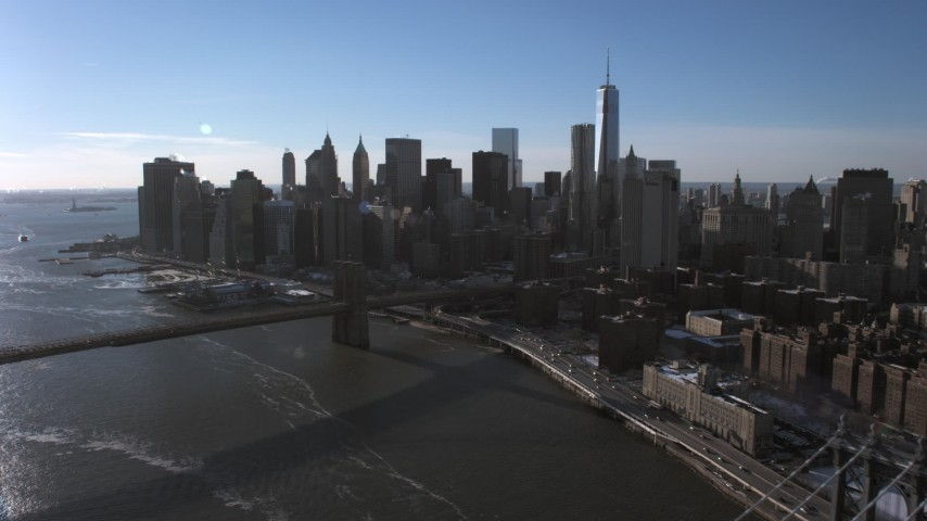 5K stock footage aerial video approach Lower Manhattan skyline and Brooklyn Bridge, New York City Aerial Stock Footage | AX66_0148