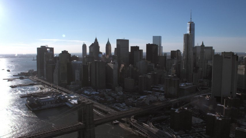 5K stock footage aerial video approach the Lower Manhattan skyline, New York City Aerial Stock Footage | AX66_0149