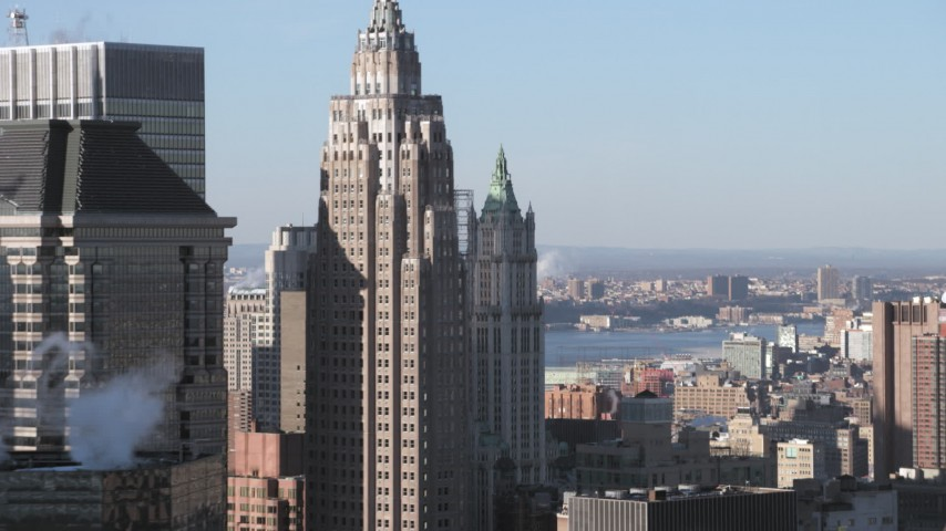5K stock footage aerial video of the 20 Exchange Place and 32 Old Slip skyscrapers in Lower Manhattan, New York City Aerial Stock Footage | AX66_0152