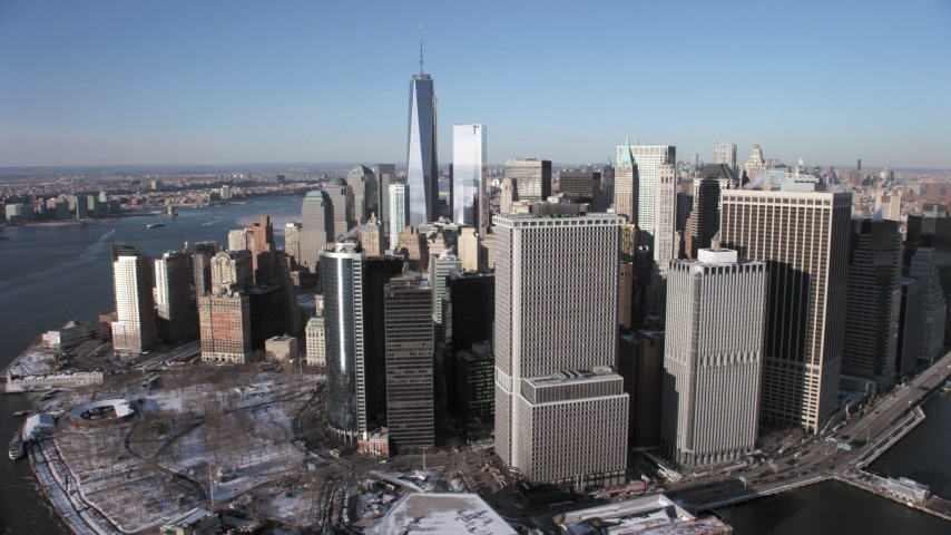 Lower Manhattan skyscrapers and One World Trade Center, New York City Aerial Stock Footage | AX66_0153