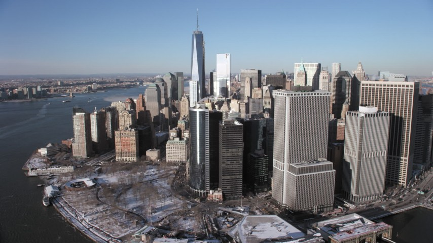 5K stock footage aerial video of Lower Manhattan skyscrapers and One World Trade Center, New York City Aerial Stock Footage | AX66_0153