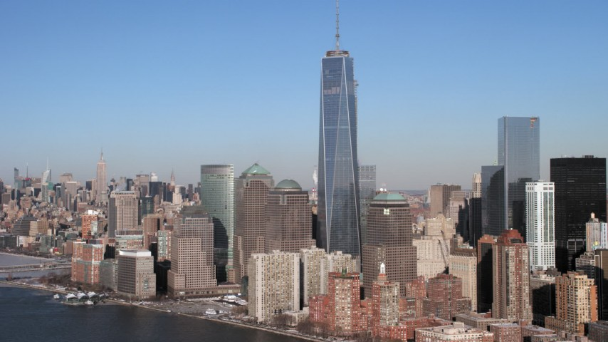 5K stock footage aerial video of World Trade Center and Lower Manhattan skyscrapers, New York City Aerial Stock Footage | AX66_0156
