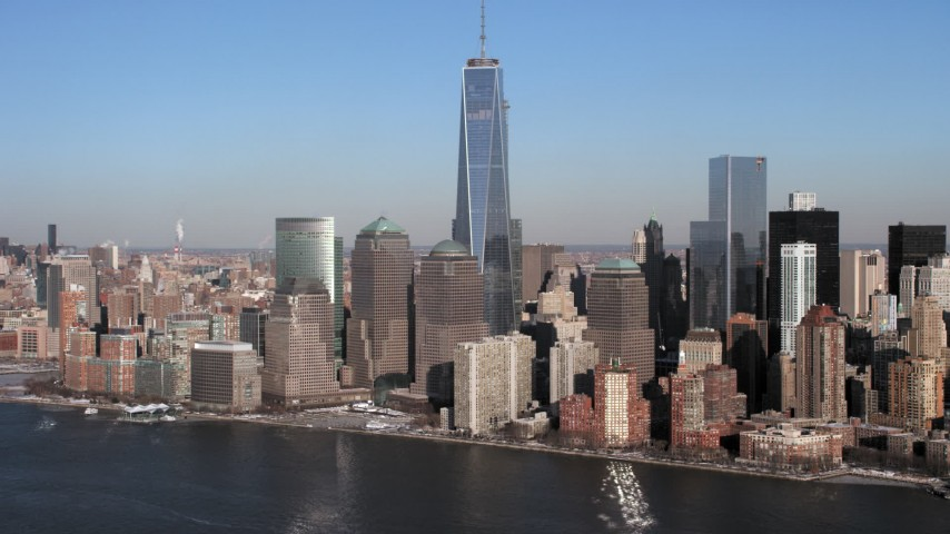 5K stock footage aerial video a view of World Trade Center and Lower Manhattan skyscrapers, New York City Aerial Stock Footage | AX66_0157
