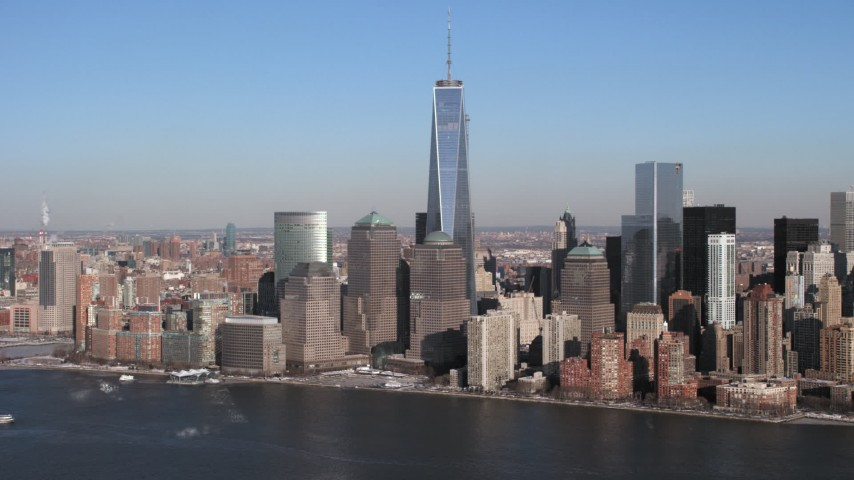 World Trade Center and skyline, New York City Aerial Stock Footage | AX66_0158