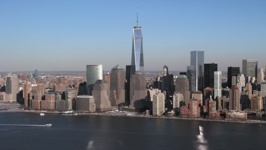 5K stock footage aerial video of OnevWorld Trade Center, Lower Manhattan skyscrapers, New York City Aerial Stock Footage | AX66_0158