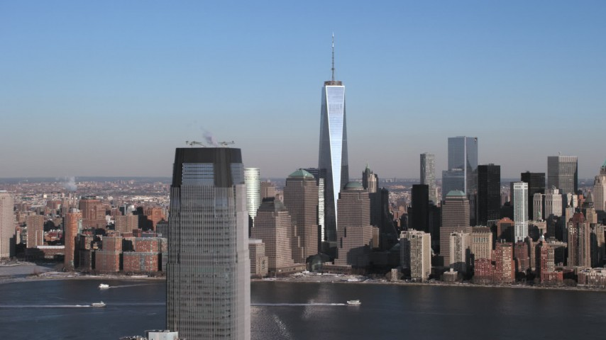 5K stock footage aerial video of One World Trade Center and Lower Manhattan skyline, New York City Aerial Stock Footage | AX66_0159
