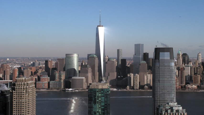 5K stock footage aerial video of World Trade Center skyscrapers and Lower Manhattan skyline, New York City Aerial Stock Footage | AX66_0160
