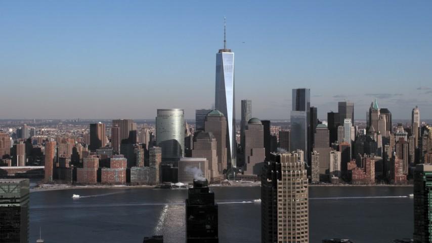 World Trade Center and Lower Manhattan Skyline, New York City Aerial Stock Footage | AX66_0161