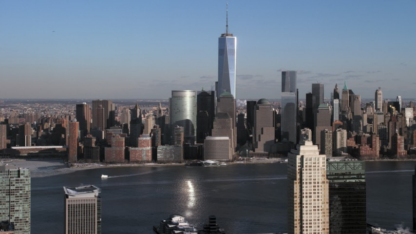 World Trade Center and Lower Manhattan Skyline, New York City Aerial Stock Footage | AX66_0162