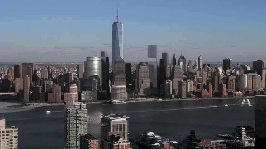 5K stock footage aerial video Freedom Tower and World Trade Center, Lower Manhattan skyline, New York City Aerial Stock Footage | AX66_0162