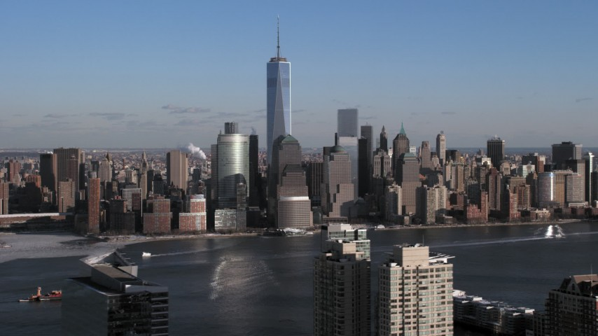 5K stock footage aerial video of World Trade Center and Lower Manhattan skyline in New York City Aerial Stock Footage | AX66_0163