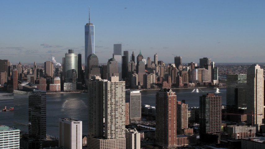 Lower Manhattan Skyscrapers in snow, New York City Aerial Stock Footage | AX66_0165