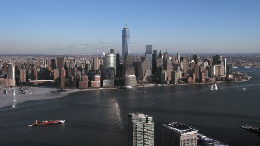 5K aerial video approach Lower Manhattan skyscrapers and Hudson River, New York City Aerial Stock Footage | AX66_0167