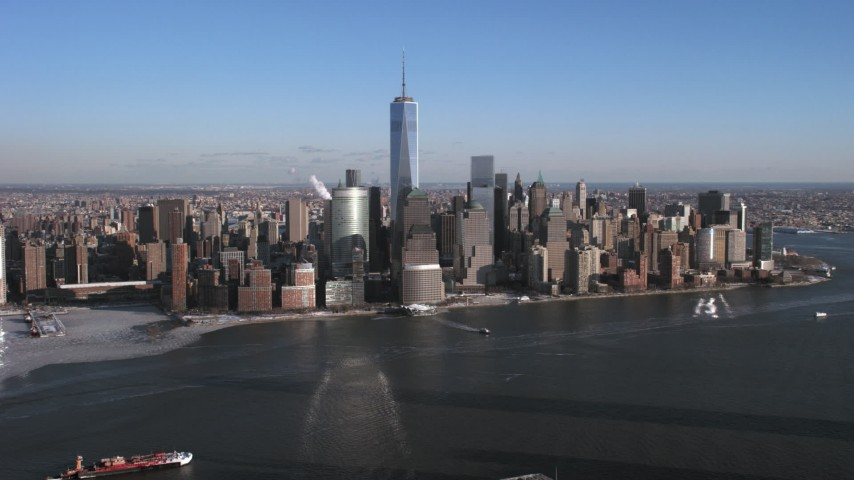 Lower Manhattan Skyline, New York City Aerial Stock Footage | AX66_0168
